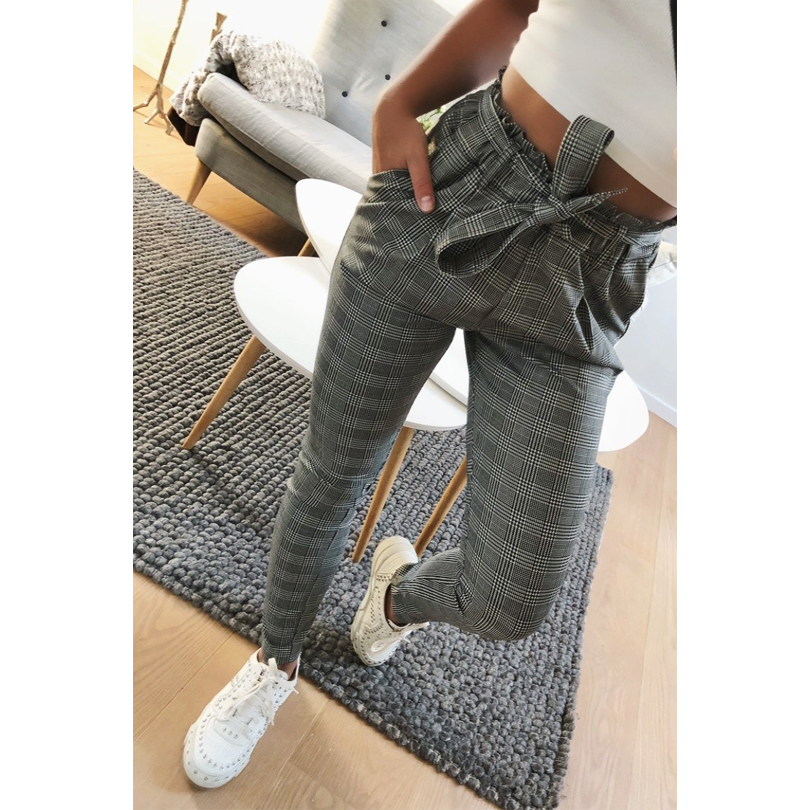 2019 New elegant Houndstooth plaid pants pockets  retro office lady wear casual fashion with sash trousers mujer Chemisier