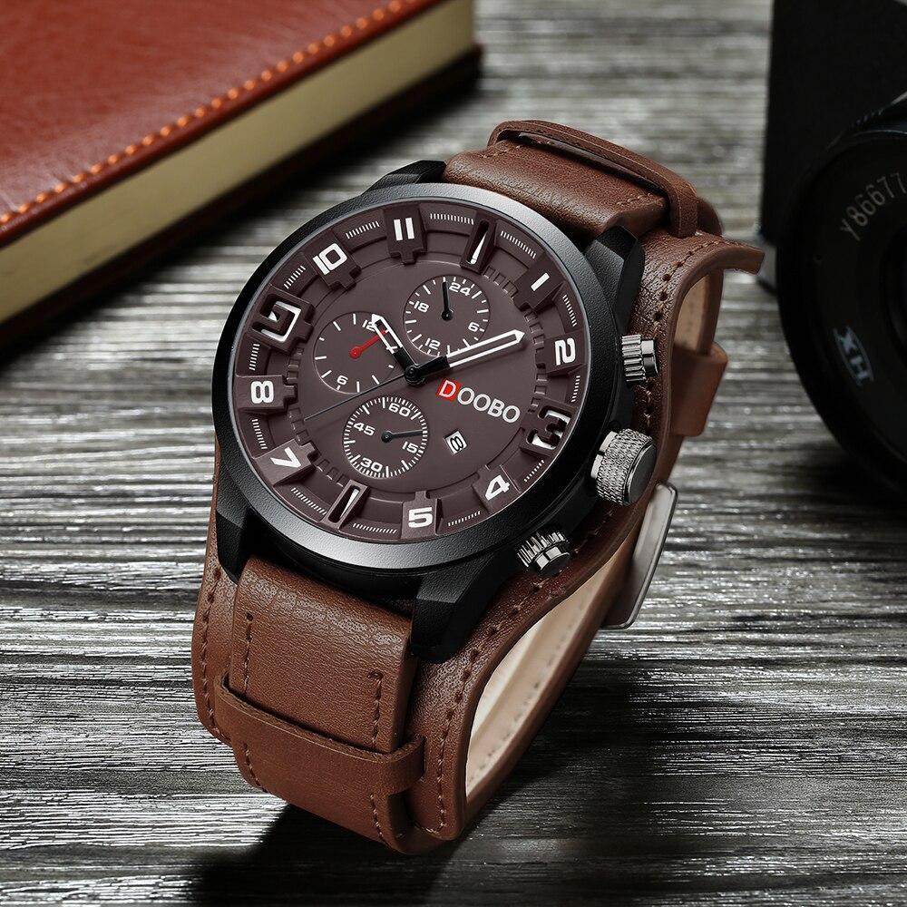 3dd16c96107 DOOBO do Esporte dos homens Casual Relógio de Quartzo Dos Homens Relógios  Top Marca de Luxo Militar Relógio de Pulso de Quartzo-Relógio de Couro  Masculino ...