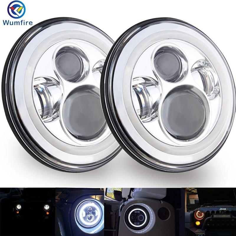 7 LED Headlights Halo Angle Eyes For Jeep Wrangler JK LJ TJ LED Projector Headlights For Land Rover Defender