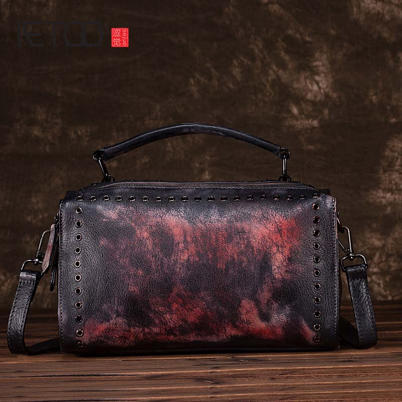 Original Hand-Rubbed Retro Portable Ladies Messenger Bag First Layer Of Personality Leather Pillow Bag