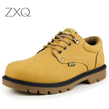 2016 PU Leather Men Ankle Boots Autumn Winter Men Boots Lace-Up Safety Work Men Martin Boots Winter Shoes