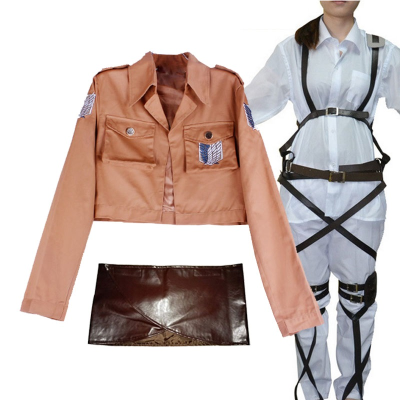 Attack On Titan Cosplay Shingeki No Kyojin Mikasa Ackerman Cosplay Costume Shawl Belt Suit Leather Shorts Full Set