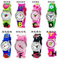 new arrived high quality kids student 3D pattern softness strap cartoon cute watches with japan movement wristwatches