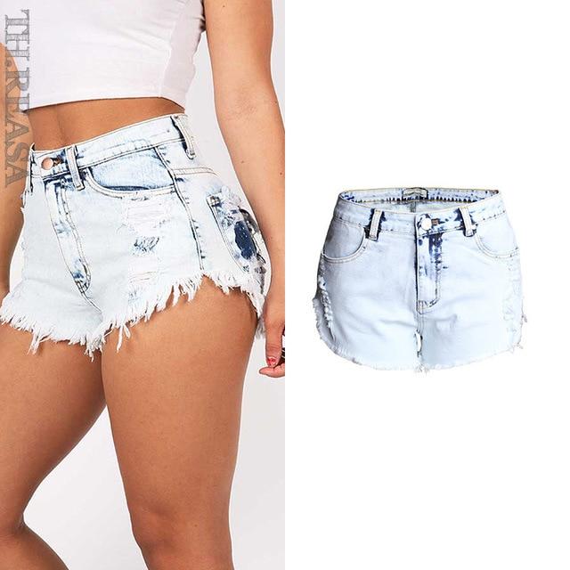 3d5eebabbe5 2017 mujeres pantalones cortos de verano de moda rasgados Vintage alta  cintura pantalones vaqueros cortos Sexy