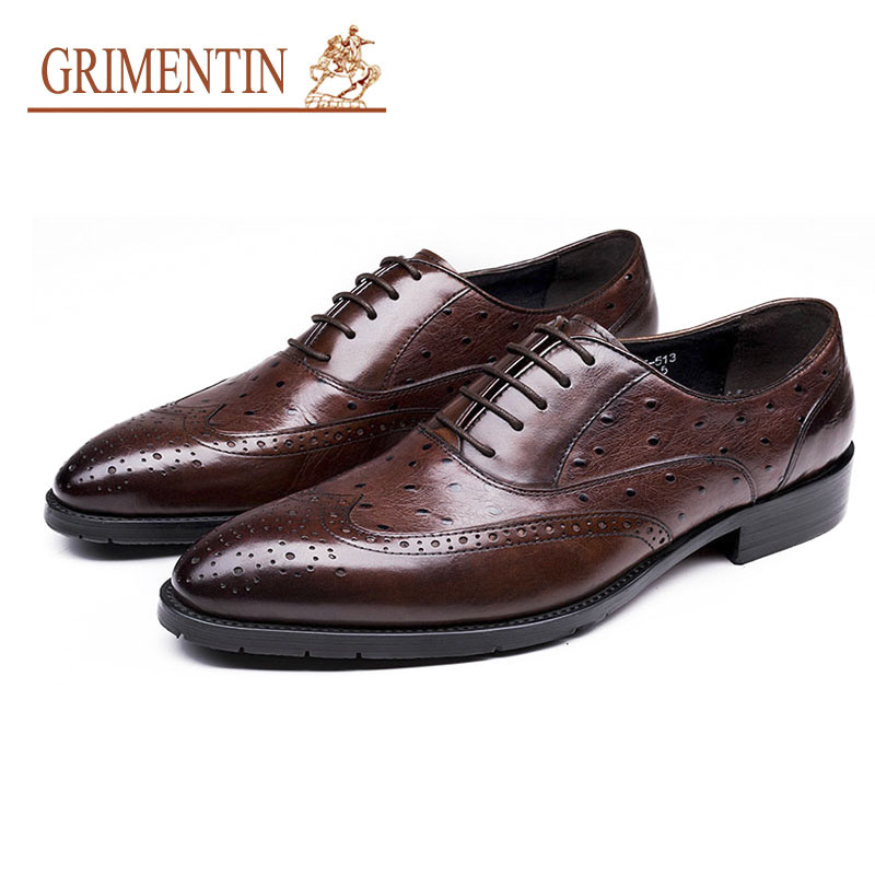 GRIMENTIN Men Dress Shoes Genuine Leather Brown Italian Designer Formal Shoes For Business OfficeGRIMENTIN Men Dress Shoes Genuine Leather Brown Italian Designer Formal Shoes For Business Office