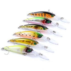 Image 2 - 6 Pcs เหยื่อตกปลา Crankbait Minnow Wobblers 6 สีเหยื่อตกปลา 3D ตา Isca ประดิษฐ์ Pesca 94 มม. 6.2g