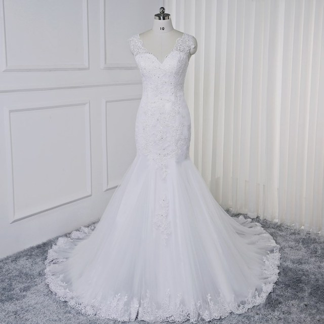 Sexy Deep V neck Beading Wedding Dresses Mermaid Style Africa New 2019 White  Lace Appliques Plus Size Tulle Wedding Gowns cdafc8d3b88b
