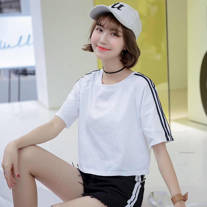 AD Striped Quality Fabric Women t shirts Student Girls Lady T-shirts Woman Clothing Clothes Summer