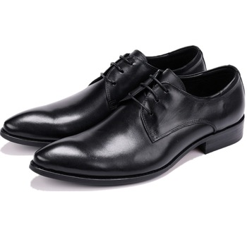 Fashion Derby Prom Shoes Mens Dress Shoes Genuine Leather Business Shoes Male Formal Wedding Groom Shoes