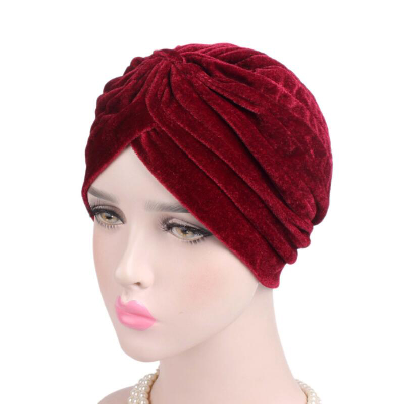New Arrival women hats velvet turban caps unisex dome caps fashion head wrap Europe style indian hats women beanies skullies chsdcsi pleuche women turban caps twist dome caps head wrap europe style india hats womens beanies skullies for fall and spring