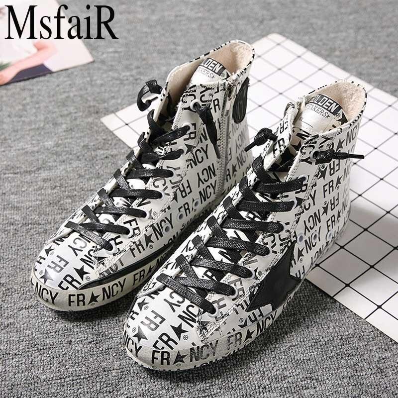 MSFAIR Planche À Roulettes Chaussures Plat Avec Toile Sale Chaussures Femme Marque Sport Chaussures Pour la Marche 2018 Handbuild Femmes Sneakers