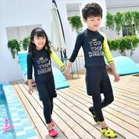 New arrive girl swimming suit kids 2019 summer beach wear three piece swimwear for boys/girls long sleeve uv protection set