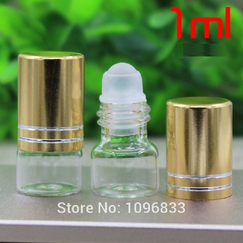 Glass Roll on Bottles 1ML Perfume Vials Glass Bead Essential Oil Bottles Empty Roller Bottle Cosmetic Packaging Vial 1500pcs
