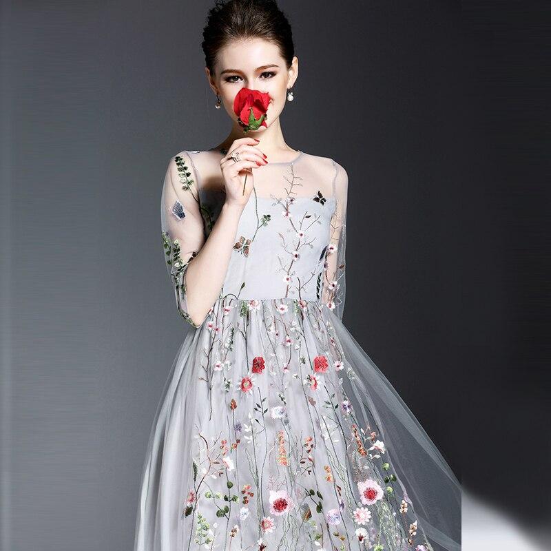 Boho διαδρόμου κεντημένα φορέματα Γυναίκες 2018 μισά μανίκια ... 67fd9483c02