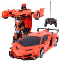 2018 New Carton Style 2 In 1 Wireless RC Car Model Deformation Robot Kids Toy Children