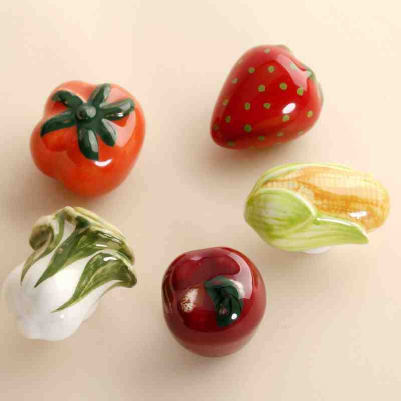 5PCS Cartoon Fruit Vegetable Ceramic Cabinet Door Knob Kitchen Cupboard Kid's Room Furniture Wardrobe Drawer Ceramic Pull Handle multi color flower rose ceramic kitchen cupboard cabinet door knob kid s room wardrobe drawer pull handle knob