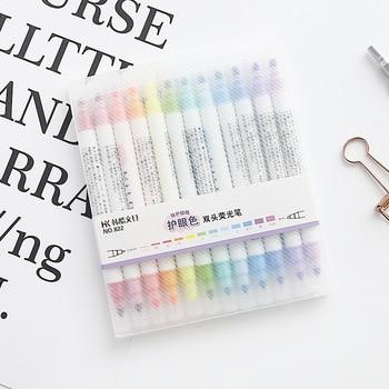 3 juegos/lote marcador fluorescente de doble cara suave de 12 colores para dibujar regalos papelería material de oficina material escolar F103