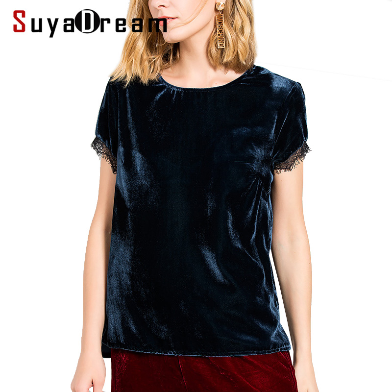 Woman T SHIRT 100 Natural Silk Velour casual Top 2018 Fall Winter shirt Navy color Bottoming