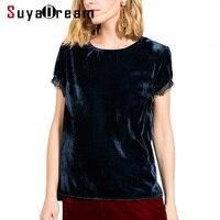 Woman T SHIRT 100 Natural Silk Velour Casual Top 2017 Fall Winter Shirt Navy Color Bottoming