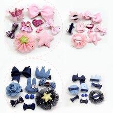 M MISM 10pcs Hairpins Set Girls Hair Jewelry Ribbon Bow Hair clip Hairpins Ears Kids Princess Crown Tiaras For Children