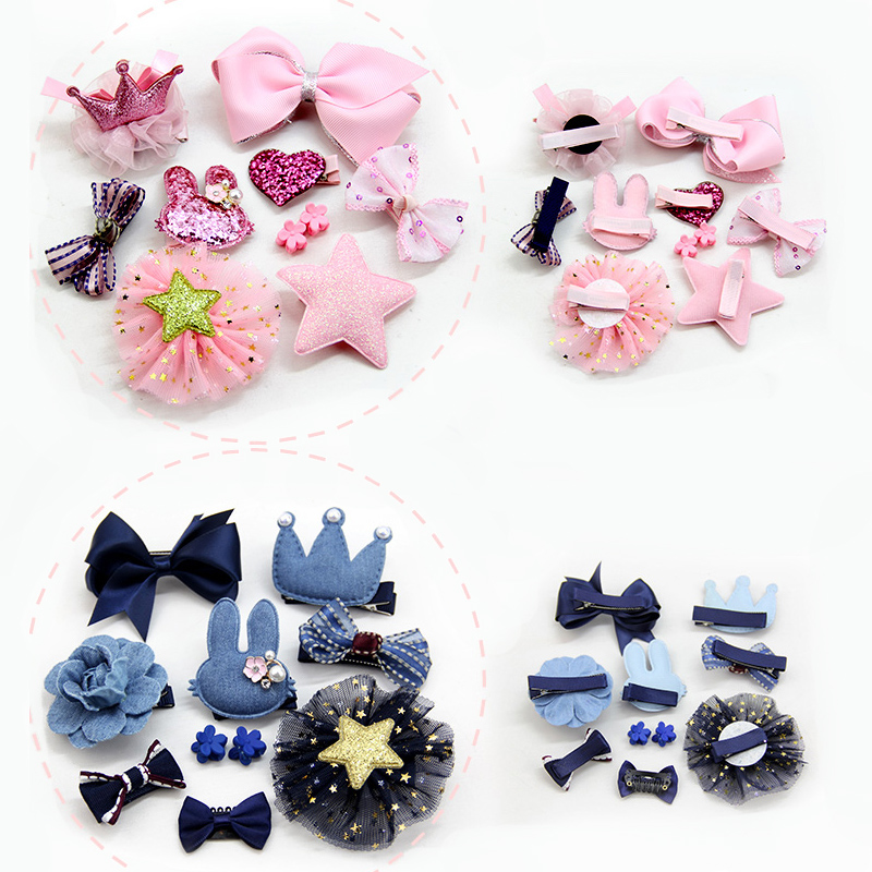 M MISM 10Pcs Headwear Set Cute Girls Bowknot Hair Clips Hairpin Star/Heart Shape Hair Pins Princess Crown Barrettes Kids Gifts