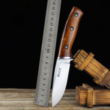 BUCK Warrior Full Tang Tactical Knife Fixed Wood Handle Hunting Straight Knife Outdoors Camping EDC Rescue Tools 1844#