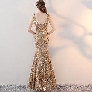 Image 5 - ヴィンテージ V ネックイブニングドレス床の長さのイブニングパーティードレスシルバースパンコールマーメイドスタイルフロントスプリットイブニングドレス