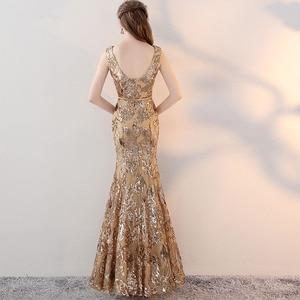 Image 5 - Vestido de noche Vintage con cuello en V, largo hasta el suelo, dorado, fiesta nocturna, lentejuelas plateadas, estilo de sirena, abertura frontal