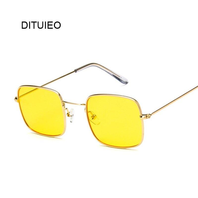 100% Wahr Vintage Kleine Quadrat Sonnenbrille Frauen Rot Gelb Klare Linse Sonnenbrille Lady Retro Sonnenbrille Weibliches Ozean Brillen Oculos De Sol