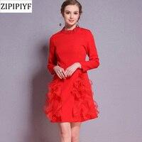 ZIPIPIYF Bayanlar Bahar Tüy Kısa Vintage Elbise 2018 Avrupa Elmas Boncuklu Elbiseler Artı Boyutu Kadınlar kırmızı mini Parti Elbise