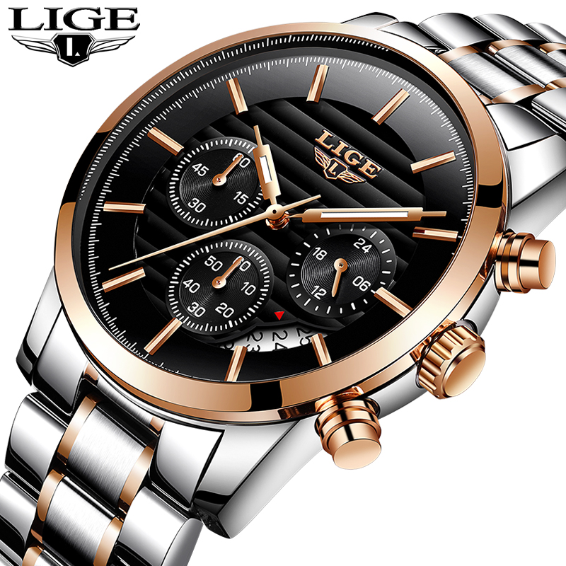 LIGE Men watch Luxury Brand Full steel Quartz watches Men Military Waterproof dress sport Man Fashion casual relogio masculino new fashion mens watches gold full steel male wristwatches sport waterproof quartz watch men military hour man relogio masculino