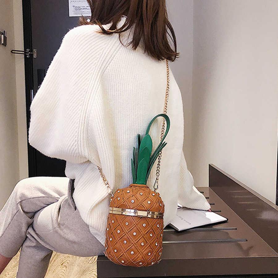 Harajuku ананасовая форма цепи сумки через плечо женские сумки милые заклепки сумка-мессенджер женские дизайнерские кошельки для девочек