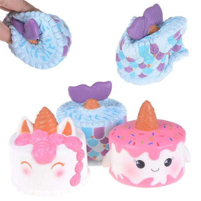 14CM Colorful Cartoon Unicorn Cake Tail Cakes Kids Fun Gift Slow