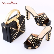 Westernrain White Nigerian Dress Bag Matching Shoe Set High Quality African Shoes And Bags Set for Wedding Fashion Women Sandal