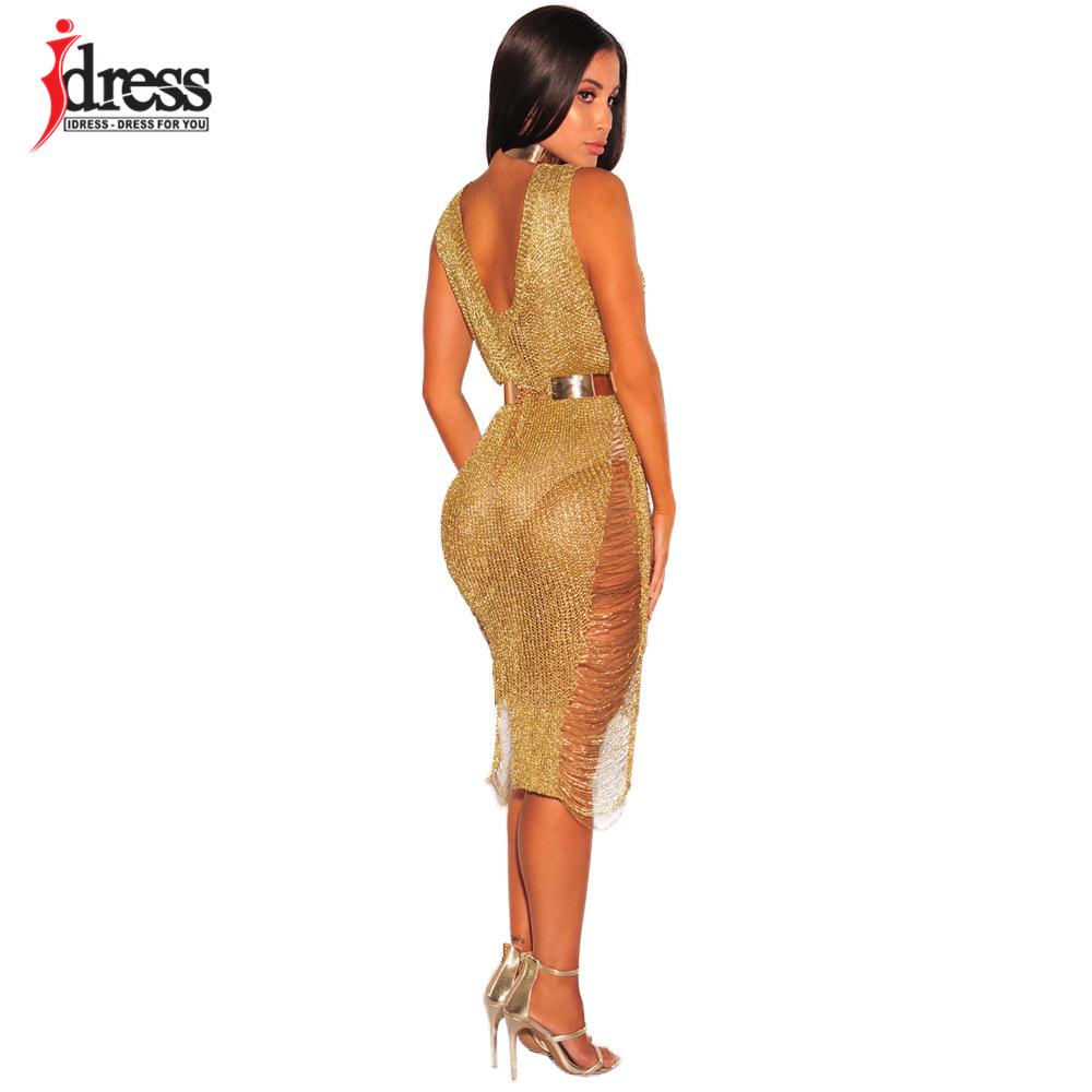 IDress 2017 Sexy Deep V Neck Hollow Out Golden String Knitting Summer Bodycon Women Dresses Sleeveless Mini Club Dress Vestidos (6)