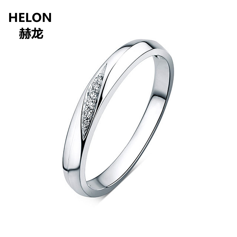 Solid 14k White Gold Engagement Wedding Ring for Women Anniversary Couple Ring for Lovers' Fine Jewelry Gift