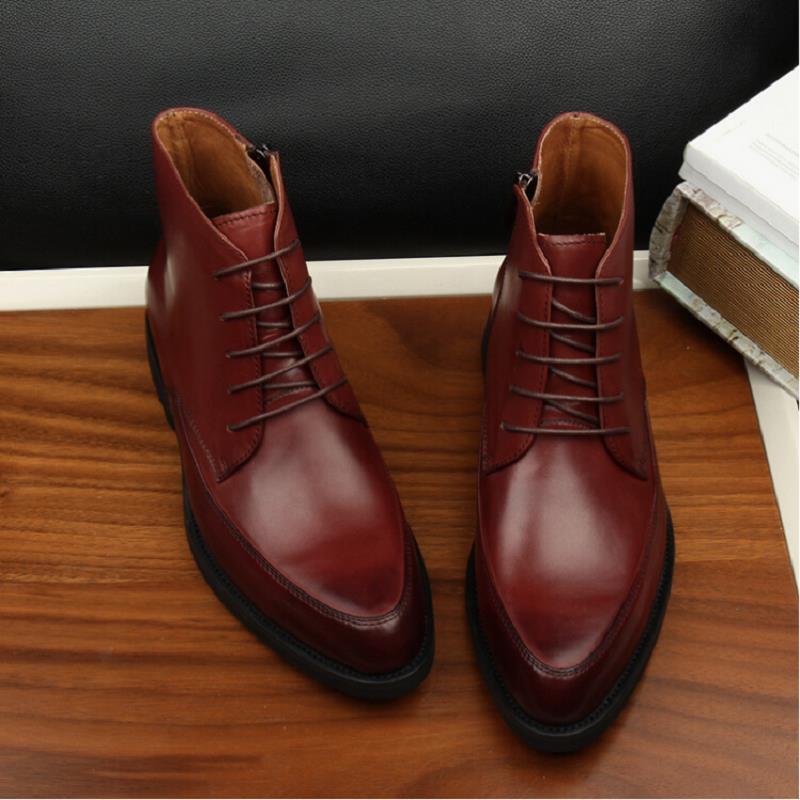 Botas De Vinho High Couro Moda Inverno vermelho Outono Chaussure Britânica Estilo Homens Novo Northmarch Sapatos up Preto cut Casuais Bota Lace tqPwEnxRgx