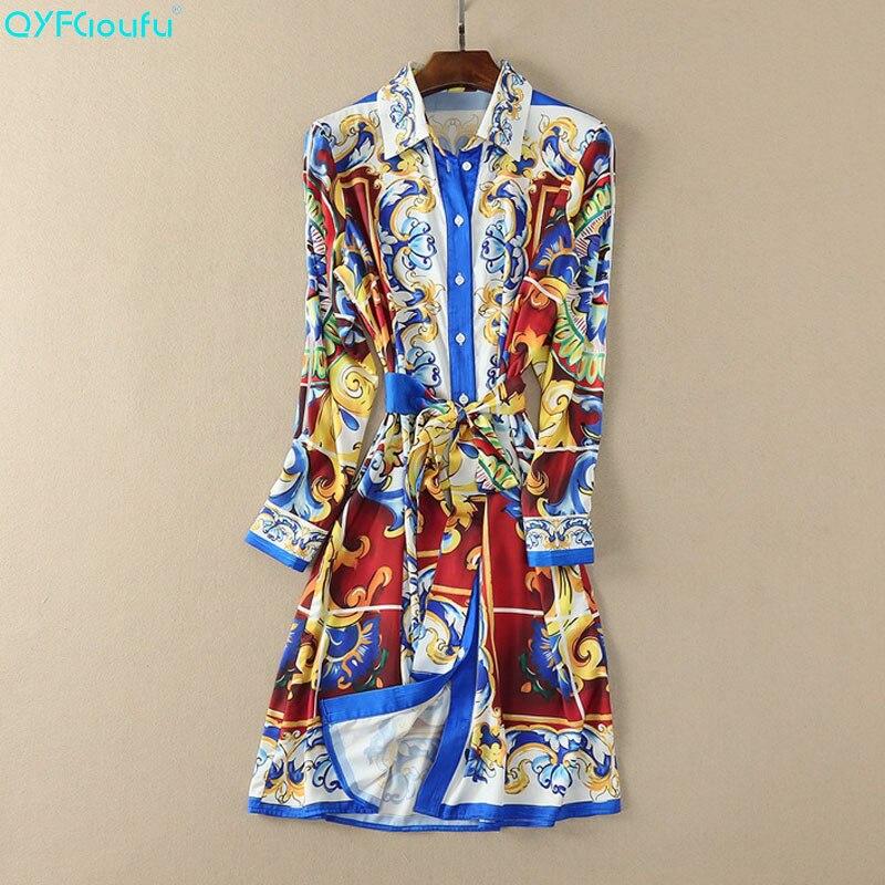 QYFCIOUFU 2019 été femmes à manches longues robe piste de haute qualité Floral imprimé mode bohème lâche tenue décontractée
