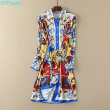 QYFCIOUFU 2019 Summer Women Long Sleeve Dress Runway High Quality Floral Printed Fashion Bohemian Loose Casual