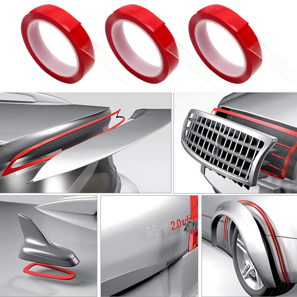 Auto Glue Sticker 8 10 15 20 mm x 3m Car Double Sided Tape Acrylic Foam Transparent Adhesive Car Stickers Decoration Accessories in Car Stickers from Automobiles Motorcycles