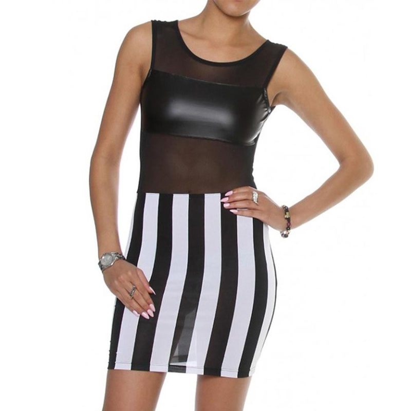 Women's Clothing Sexy Summer Fashion Sleeveless Black And White Mesh Inserted Leather Dress W84302 Sufficient Supply