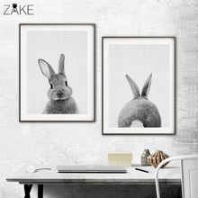 Rabbit Tail Canvas Painting Nursery Wall Art Animal Poster and Print Nordic Woodland Picture for Kids Baby Girls Room Home Decor black white baby animal rabbit tail canvas art print and poster nursery bunny canvas painting for kids room nordic wall decor