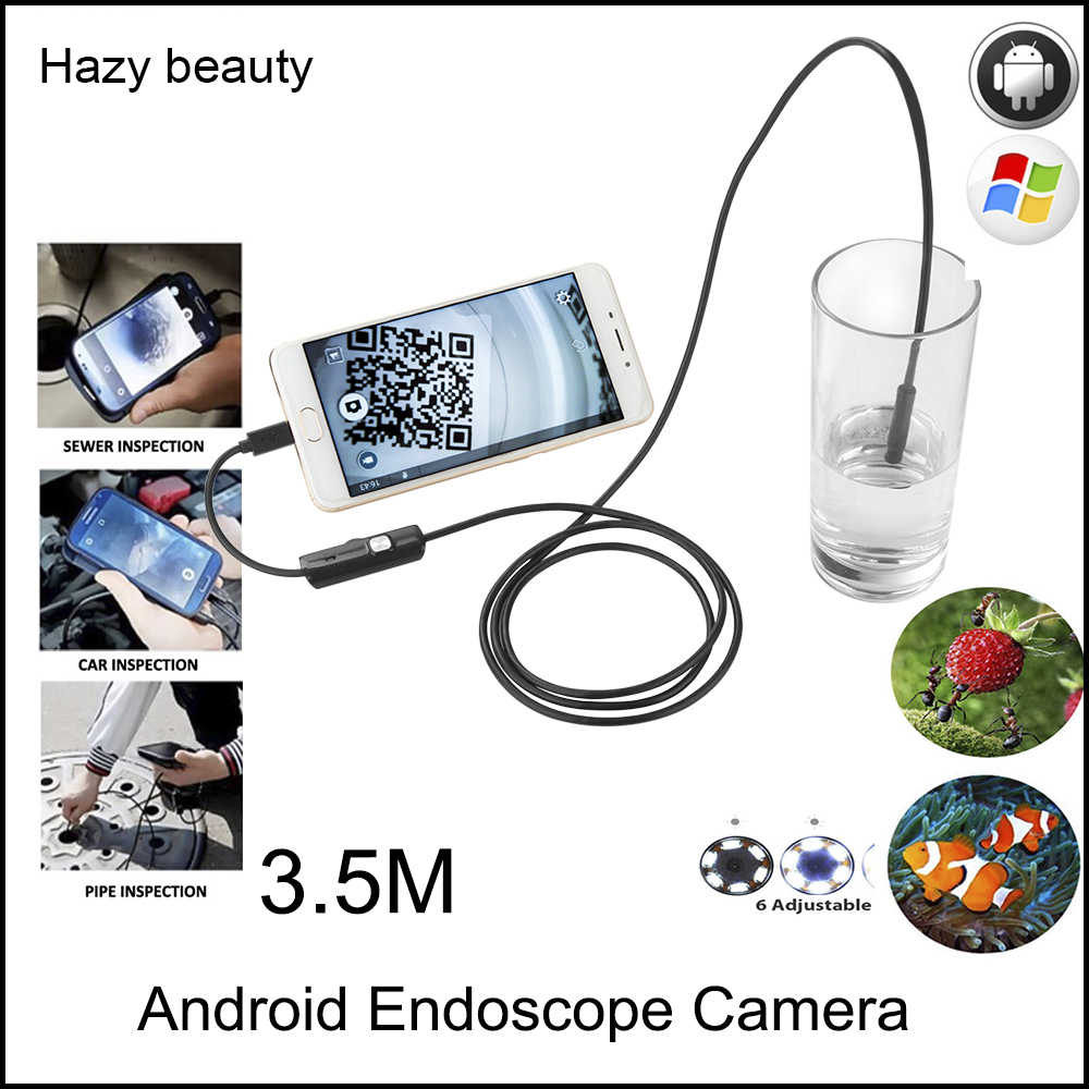 Hazy beauty Endoscope Android Camera HD 720P 8mm 5M Snake Tube Inspection Camera Car Endoscope USB Flexible Camera Waterproof hazy beauty usb android endoscope 8mm 5m length endoscope 2m hd inspection snake camera waterproof snake pipe borescope cam