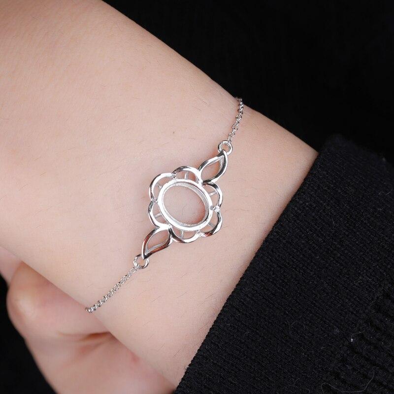 925 Sterling Silver Women Bracelet Chain 10x12mm Oval Cabochon Semi Mount Bracelet Fine Jewelry Setting DIY Stone