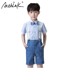 ActhInK New Arrival Boys Blue Summer Wedding Suit School Uniform Baby Clothing Set