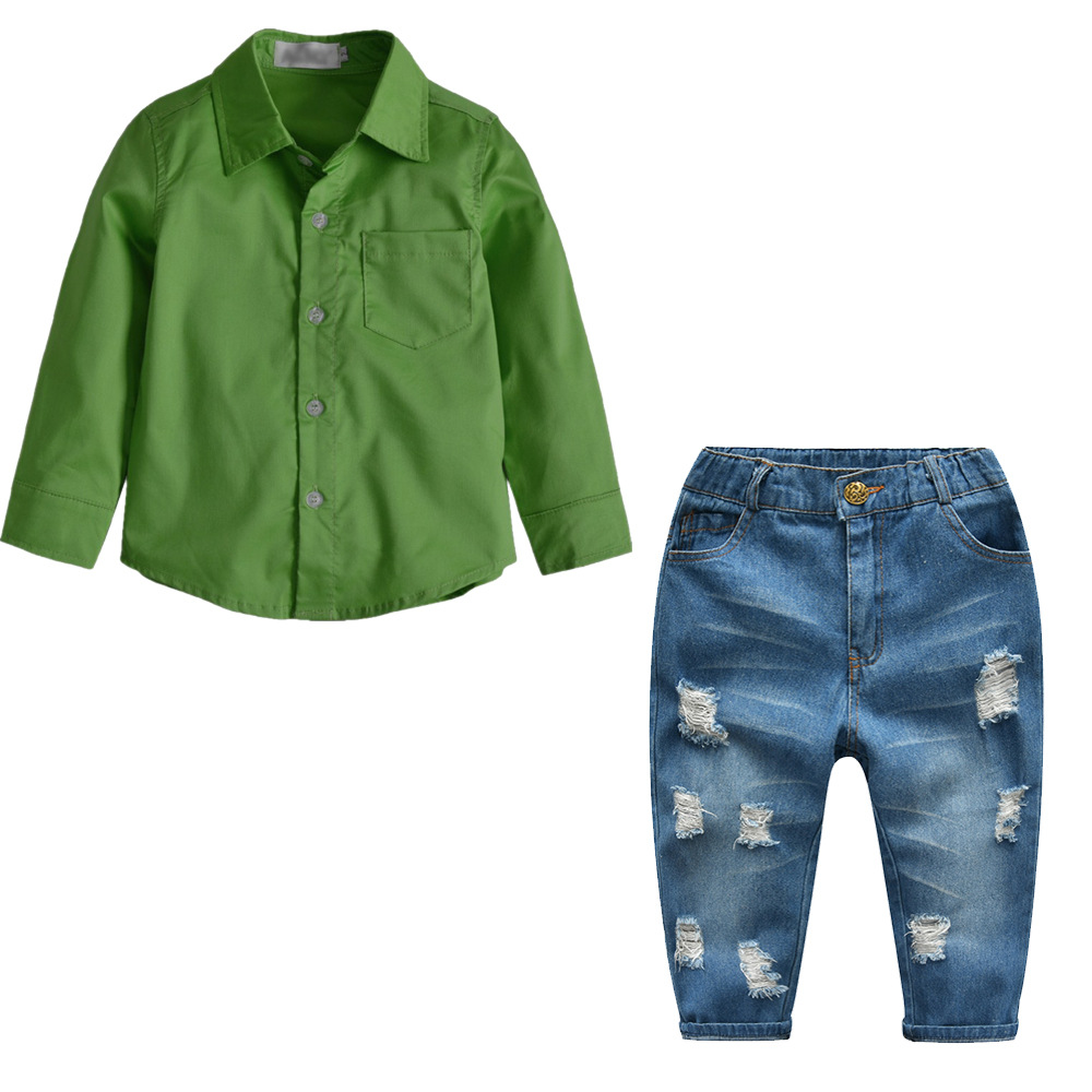 Spring Boy Clothing Shirt Green Top Denim Ripped Trousers Autumn Winter Cotton Children Boys Clothes Set Long Sleeve 8 Years plus size long sleeve ripped tee