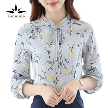 Leiouna 2017 Chiffon Female Cool Sexy Blouse Long Sleeve New Casual Fashion Print Floral Tops And Lace Shirts Women's Clothing