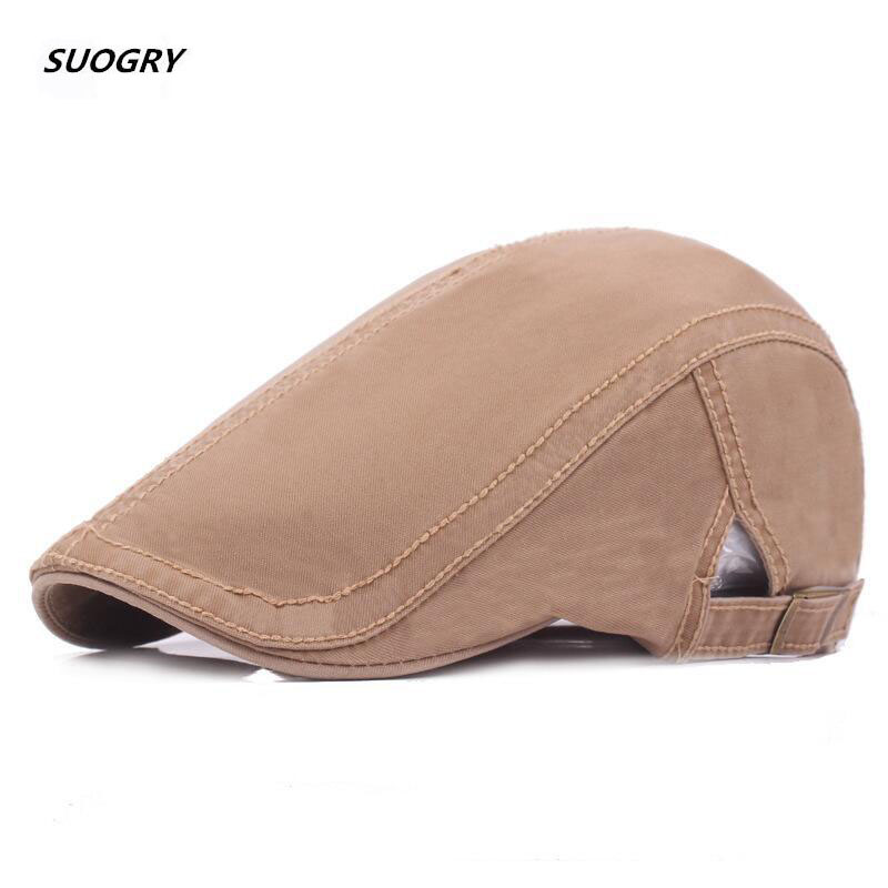 SUOGRY 2018 New Plain Cotton Berets Caps For Men Casual Peaked Hats Casquette Cap