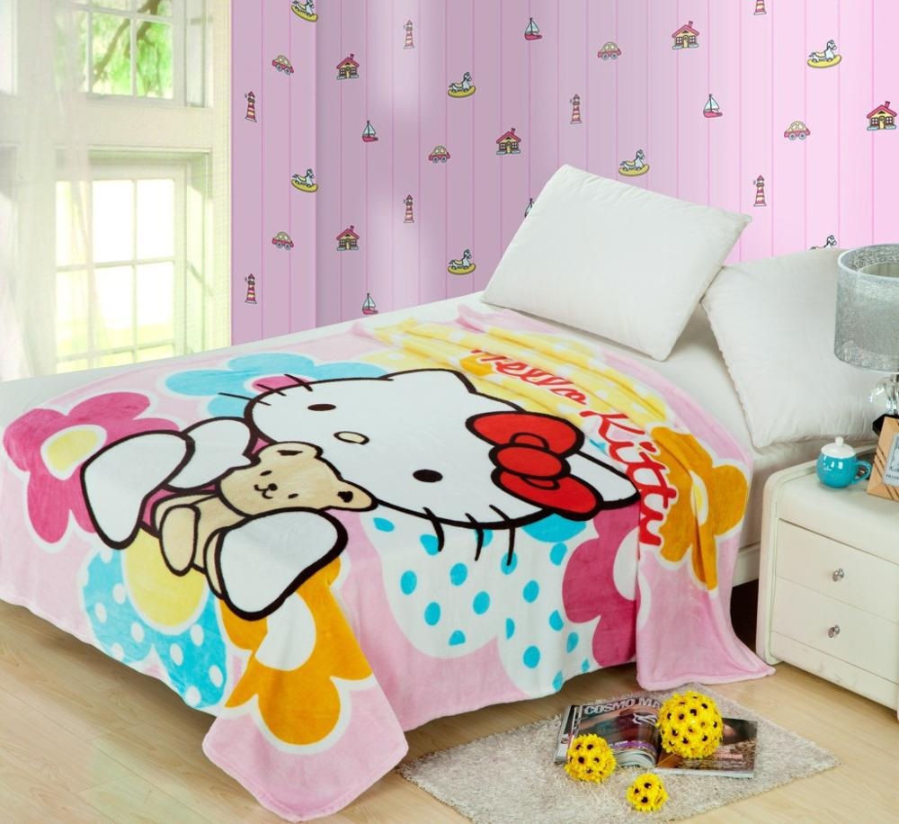 High Quality 70x100cm Hello Kitty Blanket Cartoon Super Soft Flannel Blankets for Kids on Bed/sofa/Travel/Hotel/Airplane Blanket