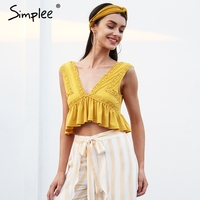 Simplee Sexy V Neck Chiffon Camisole Tank Women Ruffle Backless Short Shirt Tee 2018 Summer Casual